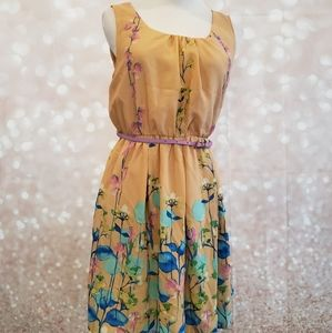 NWT Pink Owl Sleeveless Belted Floral Dress